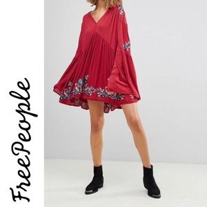 Free People Te Amo Flare Embroidered Dress